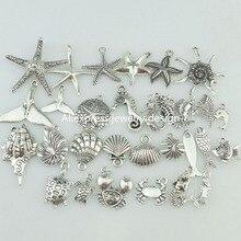 15858 30x Beach Sea Horse Starfish Shell Snail Conch Crab Mermaid Turtle Whale Pendant