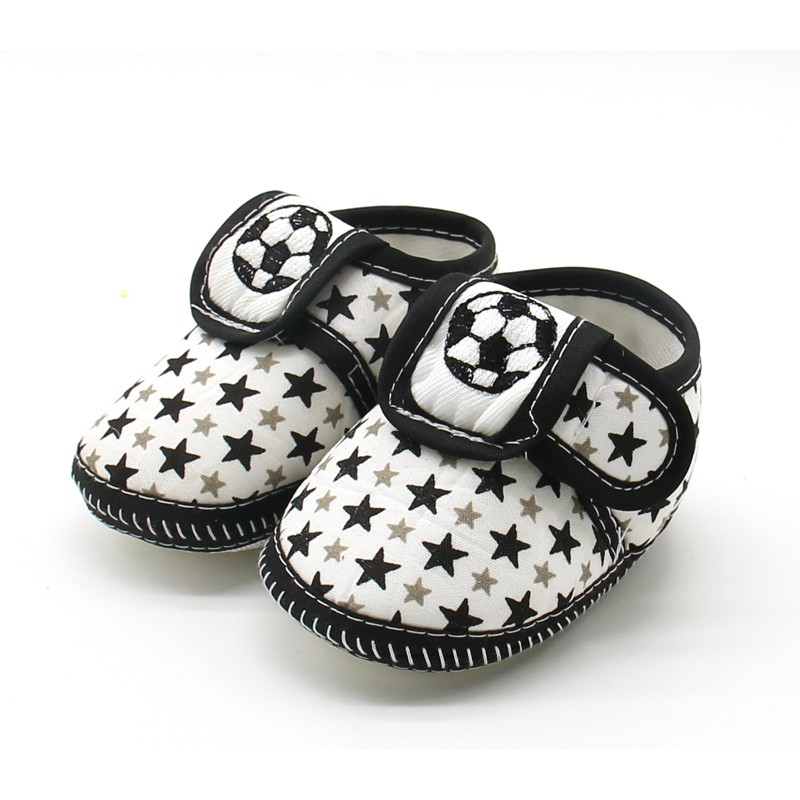 Soft Sole Baby Shoes Newborn Girls Boys New Cute Star Soccer Pattern Cotton First Walkers Toddler Moccasins Black Red Blue #06