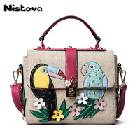 New Women's Straw Handbags Flower And Bird Decals Square Straw Bag Large Capacity Fashion Casual Ladies Shoulder Messenger Bag