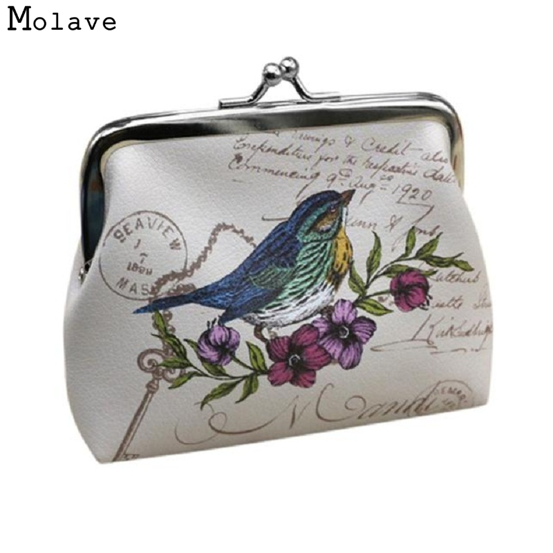 Naivety drop shipping Coin Purse New Fashion Mini Cute Women Bird Patten Card Holder Lady Clutch JUL4 2017 new women wallets cute cartoon bear lady purse pu leather clutch wallet card holder fashion handbags drop shipping j442