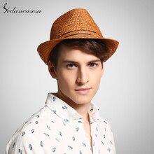 ผู้ชายคลาสสิก Raffia ฟางหมวกฤดูร้อน UV ป้องกันหมวกสำหรับ Man Fedora หมวกแฟชั่น unisex หมวก trilby วันหยุด 57 59 ซม.