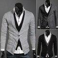 Chegada nova moda multifuncional falso duas peças da longo-luva sweater cardigan masculino