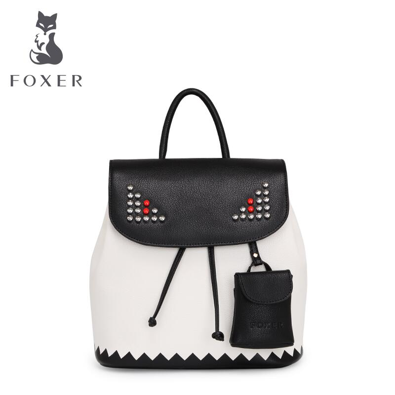 free delivery Cow leather   FOXER 2016 new a shoulder bag Rivet hit color Backpack European and American fashion backpack dipal r patel paridhi bhargava and kamal singh rathore ethosomes a phyto drug delivery system