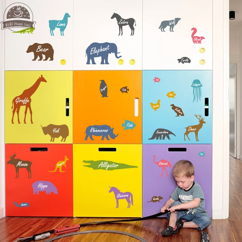 Animal name Sofa DIY Vinyl Wall Stickers For Kids Rooms Home Decor ...