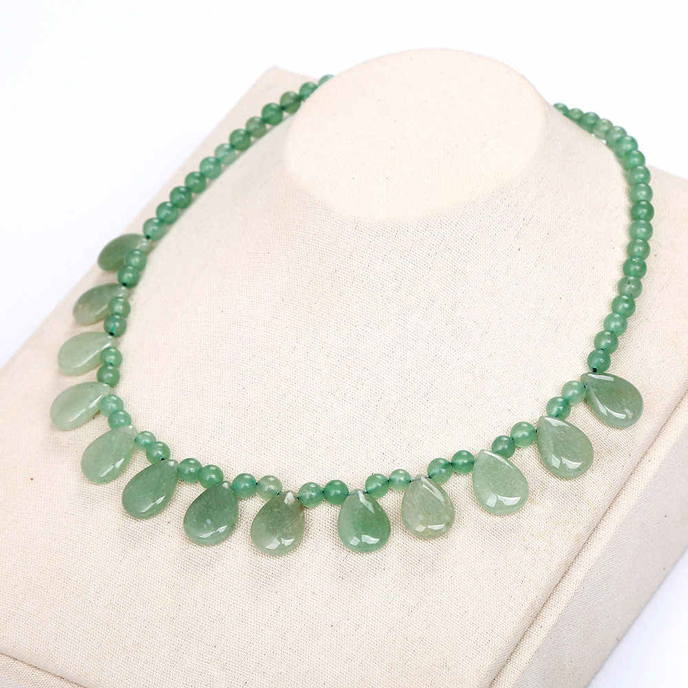 AAA Original Natural Stone Emerald Aventurine Jade Water Drop Necklace Bead Chain Women Jewelry Healing Crystal Choker Necklace