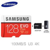 サムスン100メガバイト/秒マイクロsdカード64ギガバイト256ギガバイト128ギガバイト32ギガバイトメモリカードクラスu3フラッシュtf microsdカード用電話でミニsdhc sdxc