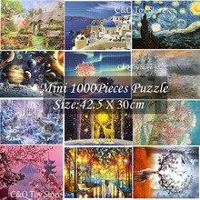 18 스타일 미니 1000 조각 공간 별이 빛나는 밤 퍼즐 성인을위한 가장 작은 유명한 그림 동물 퍼즐 (크기 42.5x30 cm)