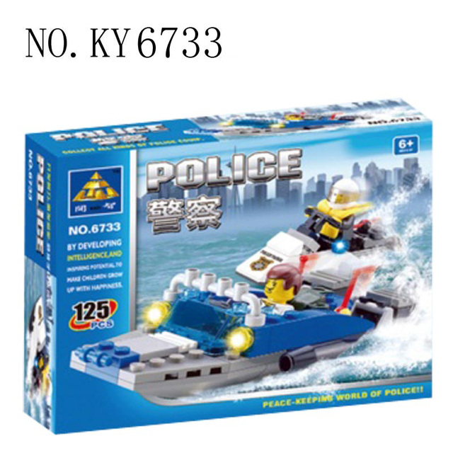 children's Toys Building Blocks Sets Models Joudt Enfant Police Helicopters Airship Prisoner Transport Car Original Box