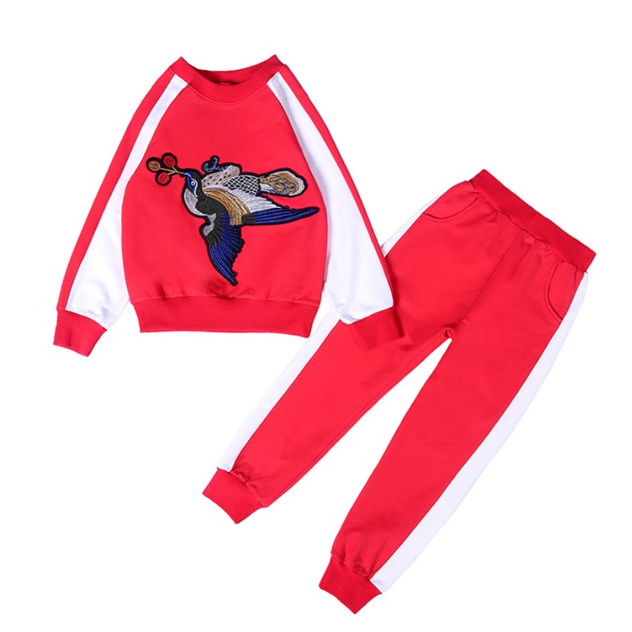 2018 Spring Children Clothing Pink Red Long Sleeve Cute Suit School Girl Outfit Tracksuit Girls Clothes Bird Tshirt Kids Costume children clothing sets winter down parkas pink red long sleeve cute suit cotton tracksuit for girls sports suit boys clothes hot