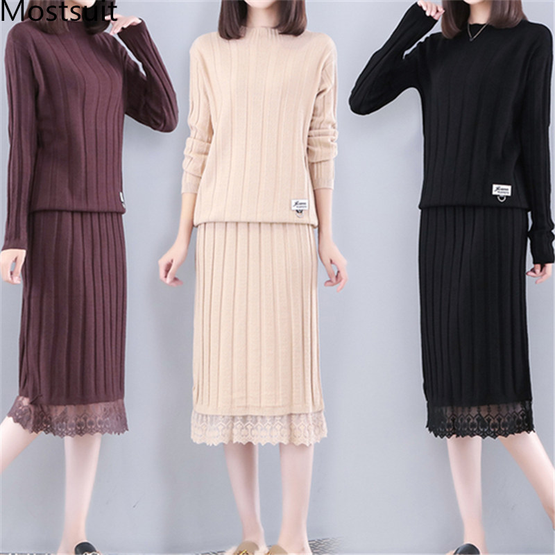 2019 Autumn Winter Knitted Two Piece Sets Women Plus Size Sweater And Lace Splicing Skirt Suits Casual Elegant Loose 2 Piece Set 39