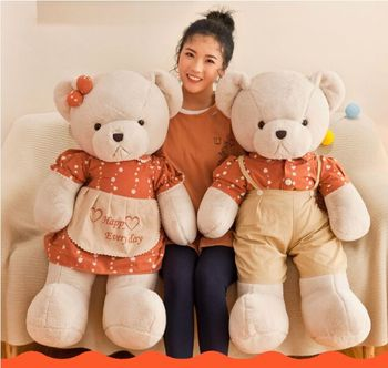large 100cm lovely dress happy every day teddy bear plush toy love couple bear soft doll hug pillow birthday gift d0778