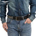 Fioretto Men's Genuine Leather Studded Belts Casual Punk Rock Belts Men Top Grade Cowhide Wide Belt Waist Strap Metal Pin Buckle