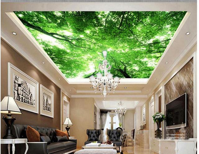 Tapety 3d Sufit Niebo Drzewa Malowidla Sufitowe 3d Malowidla Tapety