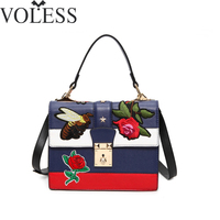 Luxury Handbags Women Bags Designer Embroidery Pu Leather Shoulder Bag Female Tote Bag Crossbody Bags For