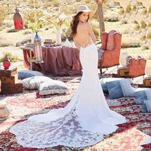 Sexy Backless Mermaid Wedding Dress Spaghetti Straps Appliques Lace Beach Bride Dress Illusion Long Train Princess Wedding Gown цена и фото