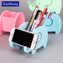 1PC Wooden Plastic Cute Elephant Phone Rack Multifunction Mobile Tray Desk Organizer Dual Use Pen Holder Office Stationery