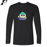 USA Cartoon South Park Long Sleeve T Shirt Men Autumn Fashion Tshirts Cotton Men Casual Black