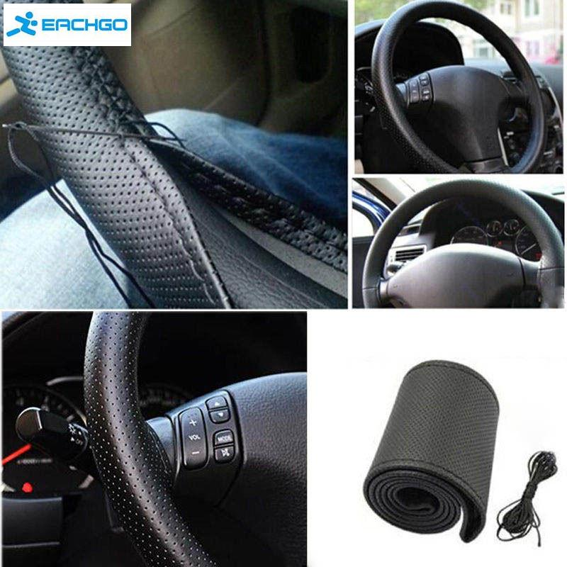 New Anti-slip Breathable PU Leather DIY Car Steering Wheel Cover Case With Needles and Thread