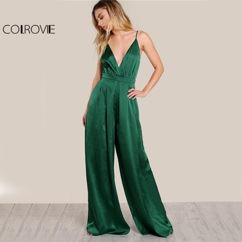 COLROVIE Culotte Leg Elegant Cami Jumpsuit Women Box Pleated Sexy V Neck Jumpsuits Fall Surplice Front Sleeveless Jumpsuit