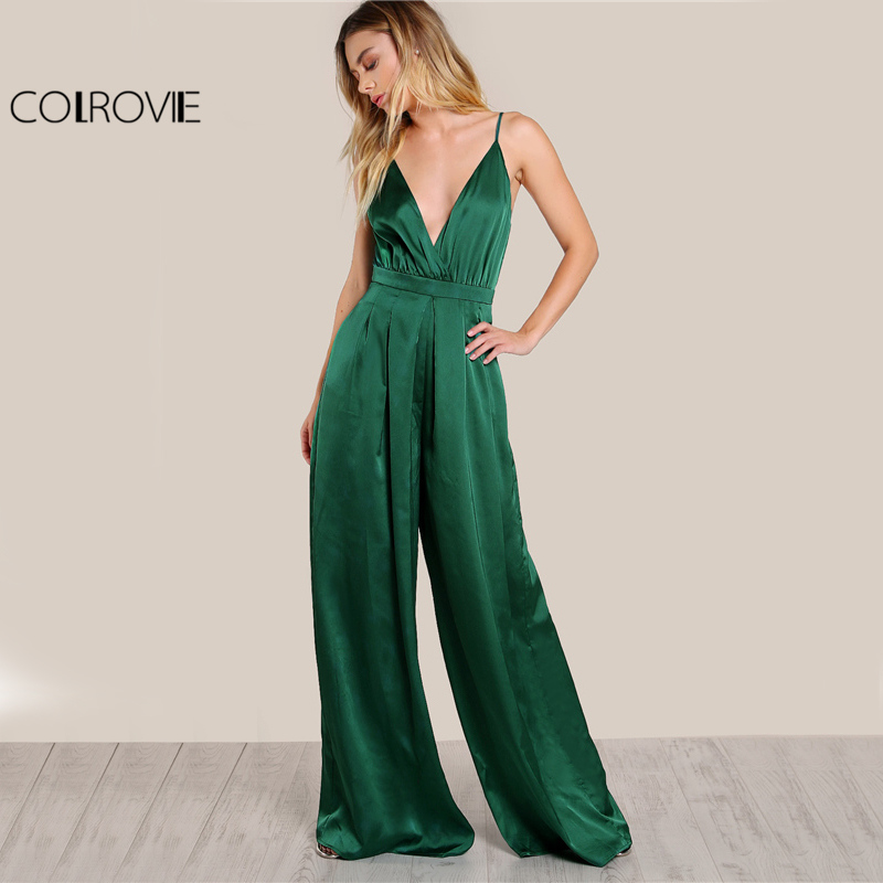 COLROVIE Culotte Leg Elegant Cami Jumpsuit Women Box Pleated Sexy V Neck Jumpsuits 2017 Fall Surplice Front Sleeveless Jumpsuit