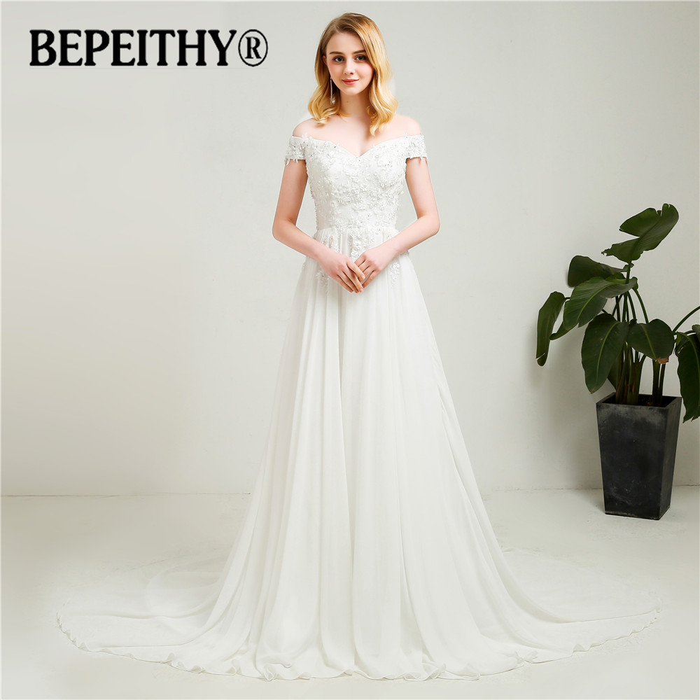 BEPEITHY 2019 New Arrival Wedding Dress Flower Top Off The