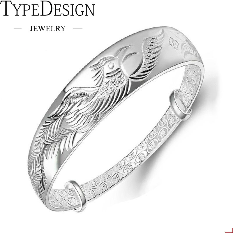 Ethnic Fashion Elegant Woman Child Gift Phoenix Push Pull 999 anillos Silver Bangle Adjustable women jade bracelet jade lotus