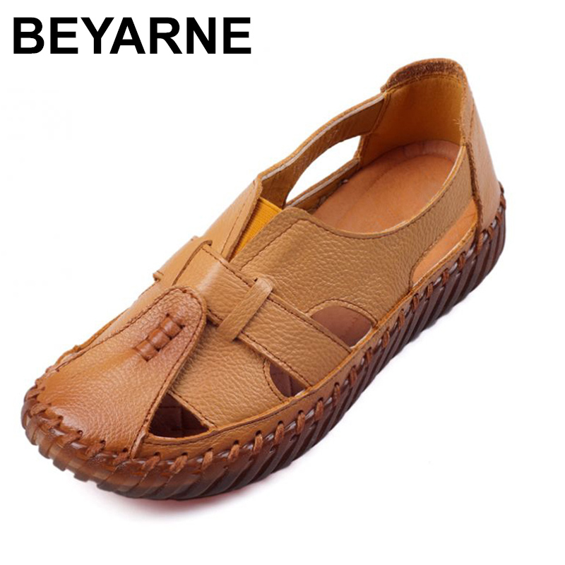 BEYARNE   Sandals 2018 Summer Genuine Leather Handmade Ladies Shoe Leather Sandals Women Flats Retro Style Mother Shoes