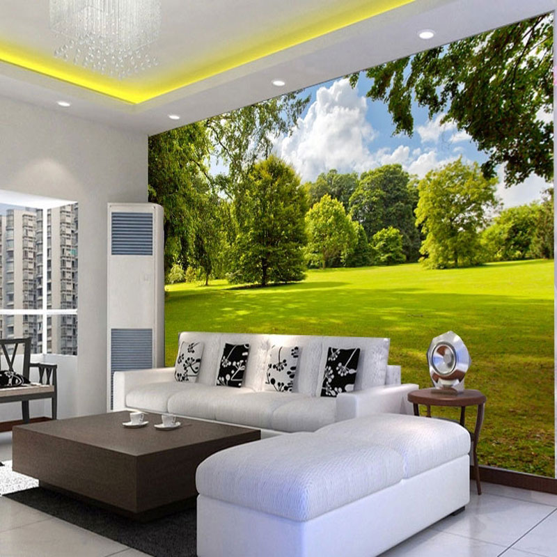 Free shipping 3d mural tv vision wall wallpaper bedroom for Mural vision tv