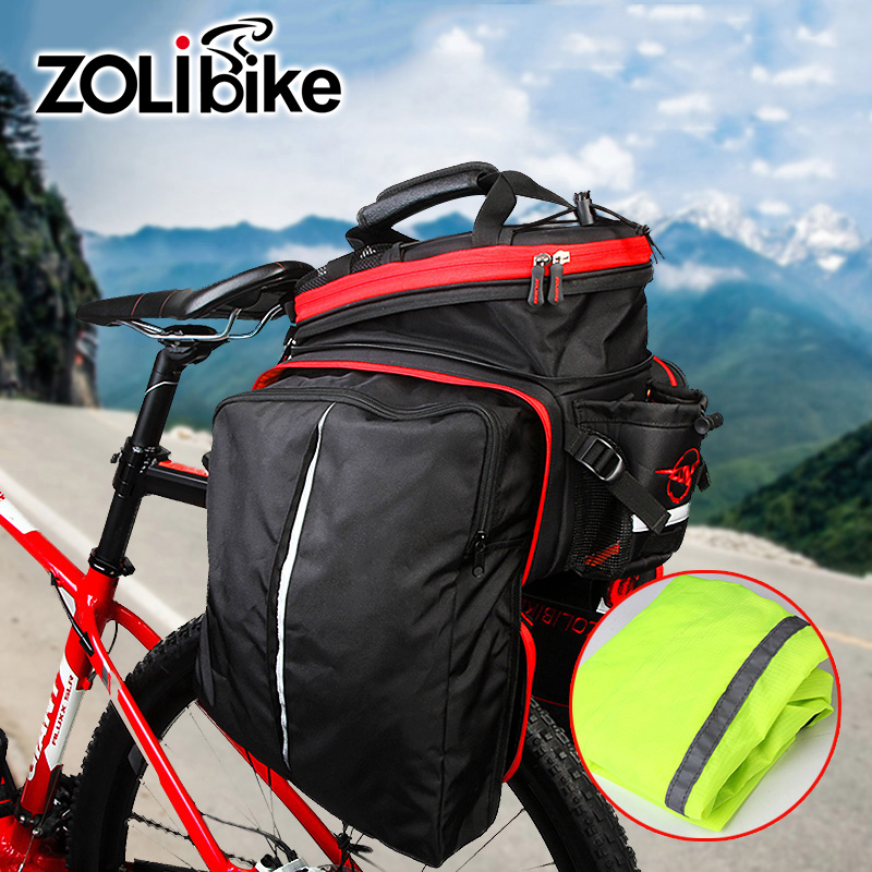 Men Cycling Bicycle Bags Reflective Velosumka Bike Bag Saddlebag Transport Tail Trunk Pannier Backpack Large Capacity Foldable roswheel 50l bicycle waterproof bag retro canvas bike carrier bag cycling double side rear rack tail seat trunk pannier two bags