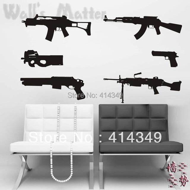 gun wall stickers decoration decor home decal fashion cute