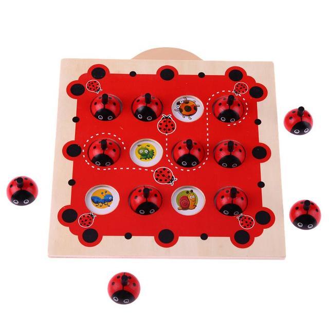 Детские деревянные головоломки Божья коровка дизайн памяти обучающая игра шахматы головоломка мультфильм Монтессори раннее развитие игрушка для детей подарок
