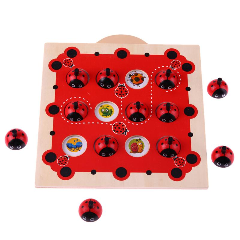 Kinder Speicher Ausbildung Spiel Schach Puzzle Cartoon Montessori Holz Puzzle Marienkäfer Design Frühe Entwicklung Spielzeug für Kinder Geschenk