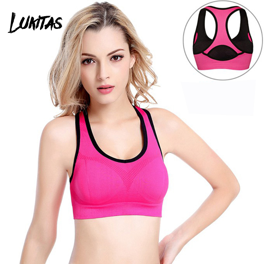 LUKITAS Women Seamless High Elastic Impact Sports Bra Padded Top for Fitness Nylon soft Wear Yoga Gym Running Bodybuilding Top in Sports Bras from Sports Entertainment