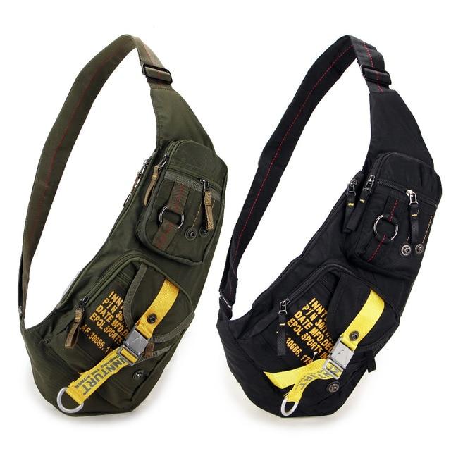 Casual Military sling Chest bag Shoulder bag for men women small Black Green 1142