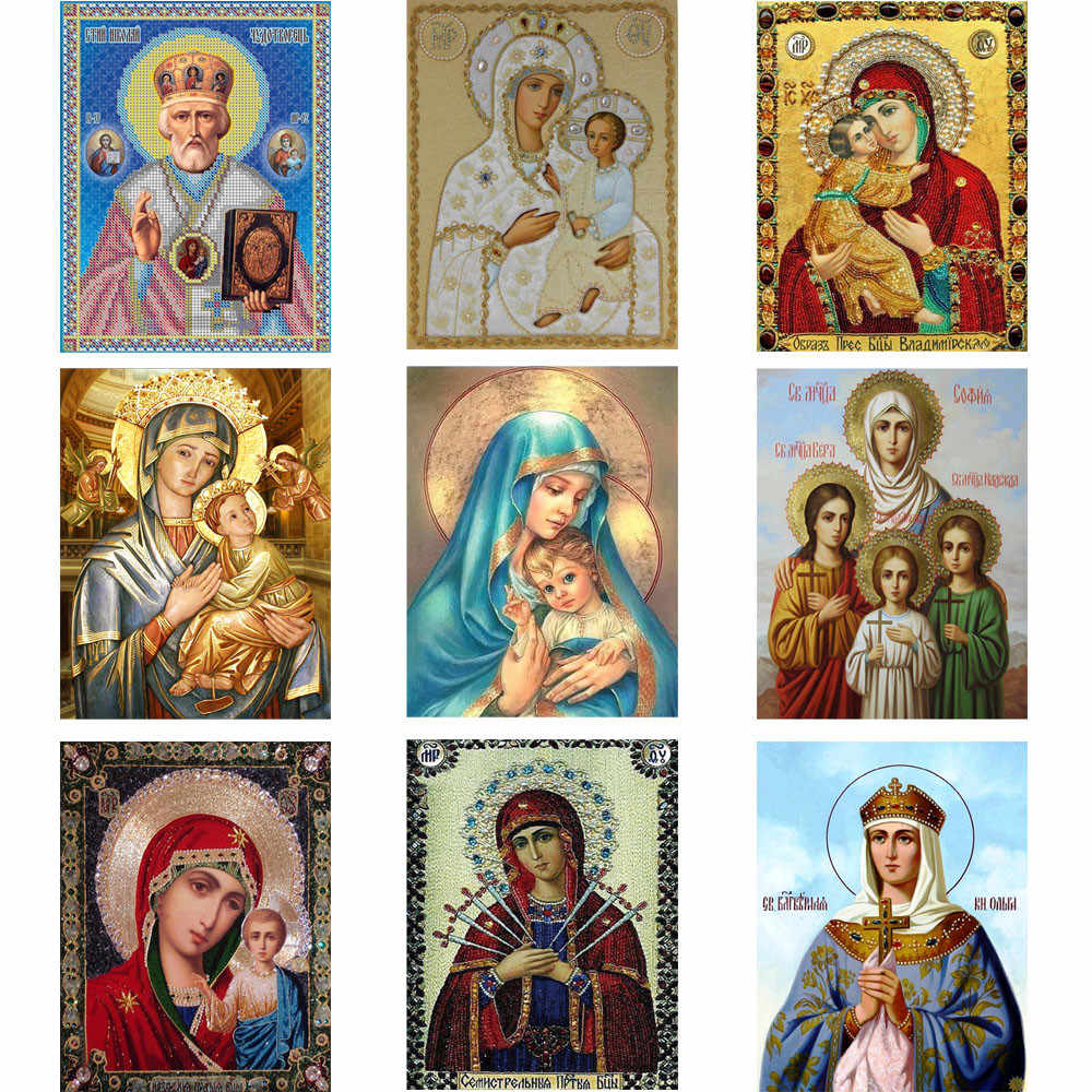 5D Diamond DIY Diamond Painting Icon Partial Round Dirll Inlaid Embroidery Religion Fashion Cross Stitch #M5