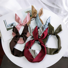 Fashion New Spring Summer Wild Skinny Scarves Women Headband Kerchief Multi-Color Solid Color Hair Band Small Scarfs Girls