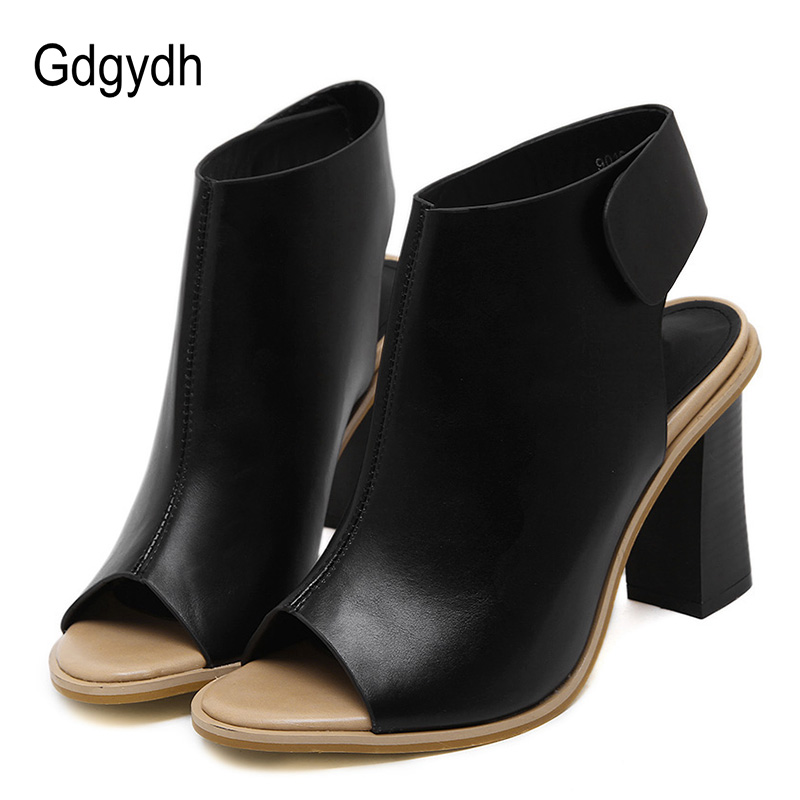 Gdgydh Spring Fashion Women Shoes Slingbacks Hook Loop Thick Heel Dress Shoes Ladies Brand Designer High Heel Pumps Open Toe 2018 spring pointed toe thick heel pumps shoes for women brand designer slip on fashion sexy woman shoes high heels nysiani
