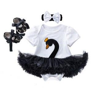 Новый комплект из 3 предметов для девочек, одежда для новорожденных, наряд с коротким рукавом и лебедем для маленьких девочек, 4 цвета, платье...