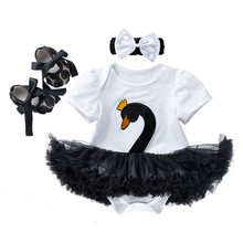 New Set Baby Girl 3Pcs Newborn Clothes Swan Short Sleeve Outfit 4 Colors Roupa Infantil Tutu Dress Headwear Shoes