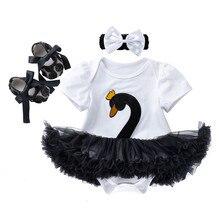 Nuevo conjunto de bebé niña 3 piezas ropa de recién nacido Swan manga corta bebé niña traje 4 colores Rupa Infantil tutú vestido sombreros zapatos