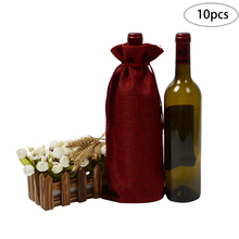 10pcs Wine Red Jute Bag 5.9x13.7 inches Hessian Bottle Gift Bags Cloth for Valentines Day