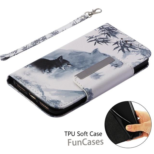 Moda qualidade de luxo couro do plutônio carteira para iphone 7 iphone 8 caso capa flip magnética pintado capa completa hoesje kryt fundas 5