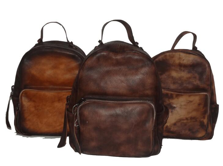Vintage style women genuine leather cow skin casual backpack