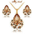jewelry sets rose gold crystal fashion necklace earrings luxury wedding women bridal gift perhiasan african bridal jewellery set