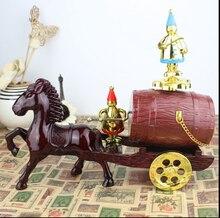 Retro Carriage Musical Box Carousel horse Music Box Clockwork Train Carriage Rotatry Musical Ornament Birthday Christmas Gift