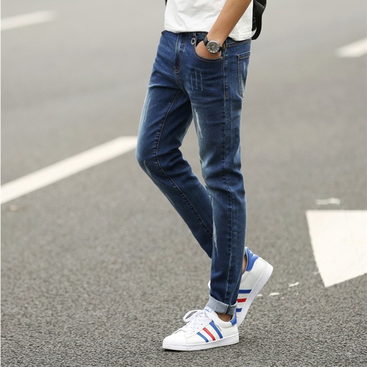 2016 Youth spring and summer fashion jeans Slim Korean men feet pants 28''-38''