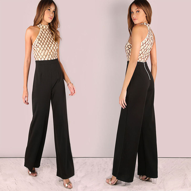 18bfd328742 MUXU sequin patchwork women jumpsuit body feminino combinaison femme  jumpsuits elegant long gold glitter wide leg jumpsuit