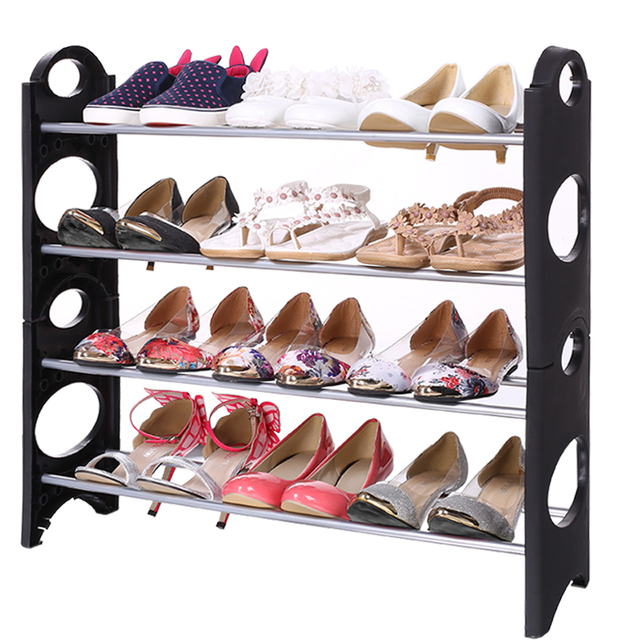 Homdox 4 Tier Adjustable Shoes Tidy Rack Storage Stand Organizer Holder  Stackable Shoe Rack N20