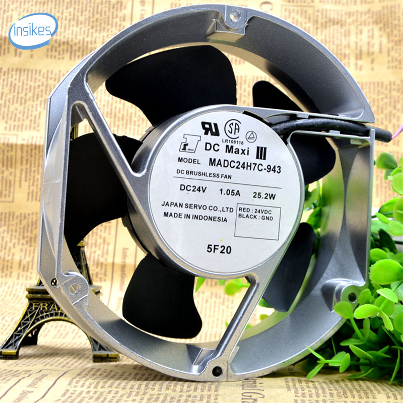 DHL Free MADC24H7C-943 DC 24V 1.05A 25.2W 3850RPM 12038 12cm 120*120*38mm 2 Wires High Precision Ball Bearings Cooling Fan delta 12038 12v cooling fan afb1212ehe afb1212he afb1212hhe afb1212le afb1212she afb1212vhe afb1212me
