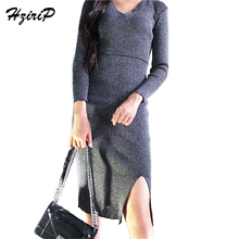 Hzirip серебряные вязаные высокие приталенное платье Женская сексуальность v-образным вырезом Тонкий Сторона Разделение Dressses женский с длинным рукавом Теплые Vestidos feminino